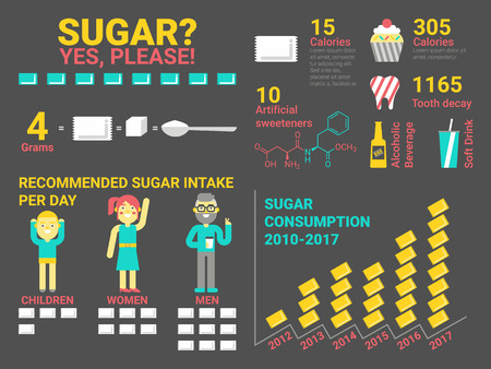 healthy woman: Illustration of sugar consumption infographic elements and icon