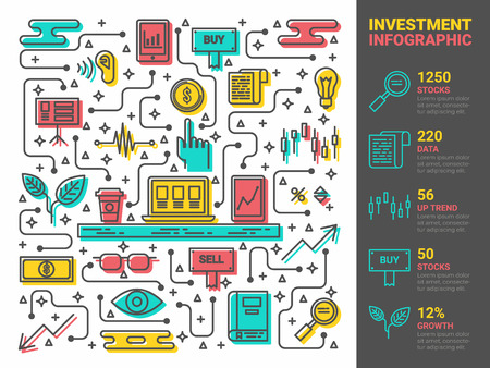 Illustration of investment concept, infographic icons elements Illustration