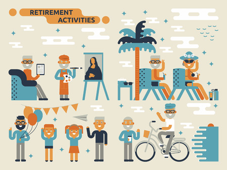 Illustration of retirement activities concept with many elderly characters Ilustração