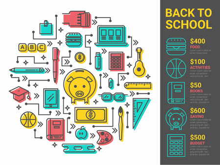 bank book: Illustration of Back to school loan infographic concept
