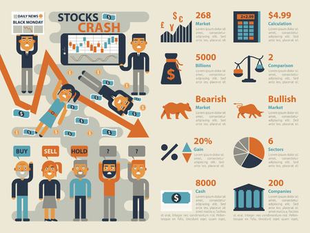 bearish market: Illustration of stocks market crash infographic elements and icons Illustration
