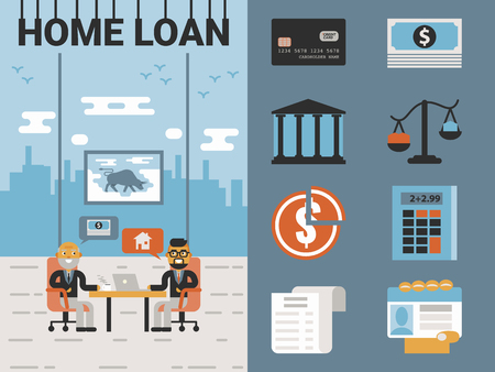 loan: Illustration of home loan concept with icons