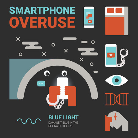 degeneration: Illustration of smartphone overuse concept with icons