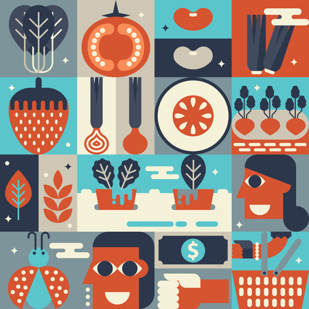 hydroponic: Illustration of organic hydroponic gardening concept with icons elements