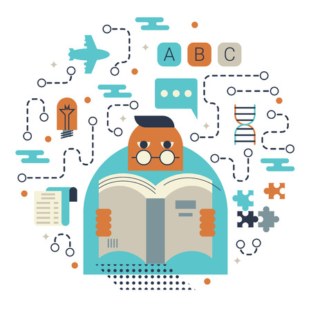 knowledge concept: Illustration of reading and knowledge concept with icons Illustration