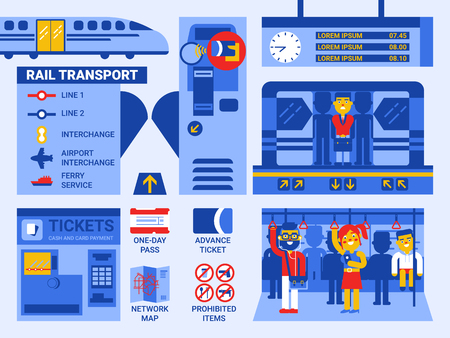 Illustration of rail transportation infographic elements and icons Vectores
