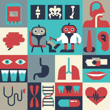 dna smile: Illustration of health concept with elements and icons