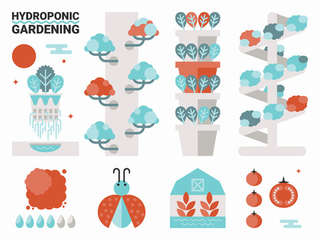 greenhouses: Illustration of organic hydroponic gardening concept with elements Illustration