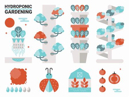 invernadero: Ilustraci�n del concepto de la jardiner�a hidrop�nica org�nica con elementos Vectores