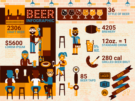 draft beer: Illustration of beer infographic concept with icons