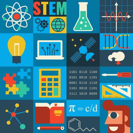 matematica: Ilustraci�n de la educaci�n STEM en aplicar el concepto de ciencia Vectores