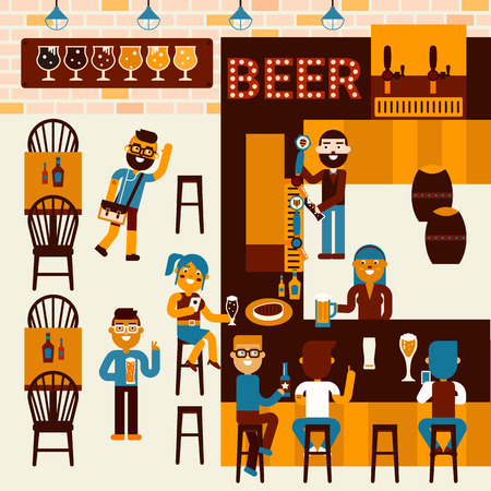 Illustration of beer restaurant community scene with many people