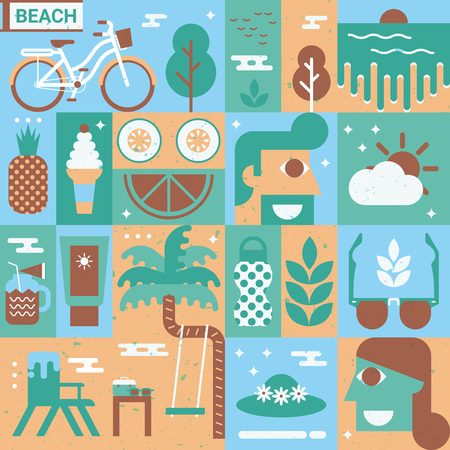 couple in summer: Illustration of beach concept background with elements