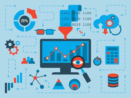 Ilustracja koncepcji analizy danych, płaska konstrukcja z ikonami