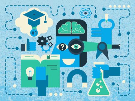 metodo cientifico: Ilustración del concepto de investigación científica fondo abstracto