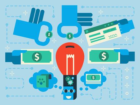 Illustration du concept de crowdfunding design plat fond Banque d'images - 47336548