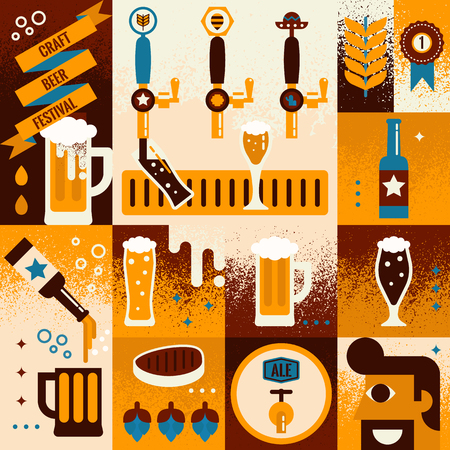 cerveza: Ilustración de la cerveza del concepto del fondo del collage con elementos Vectores
