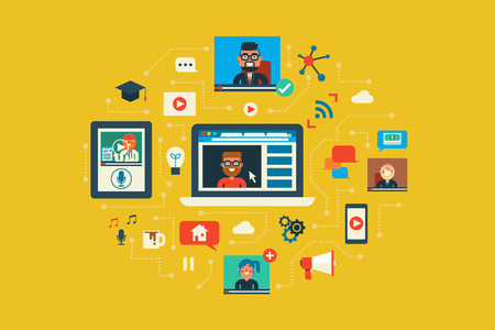 teleconference: Illustration of webinar flat design concept with icons elements