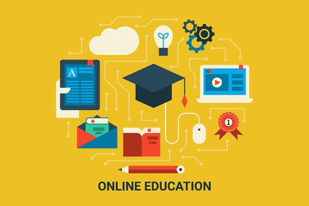 edutainment: Illustration of e-learning concept flat design background