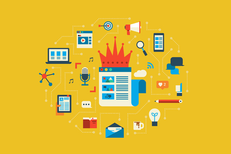 medios de comunicaci�n social: Ilustraci�n del concepto contenido dise�o plano con iconos de elementos