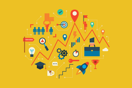 leadership abstract: Illustration of career and opportunities design flat design concept with icons elements Illustration