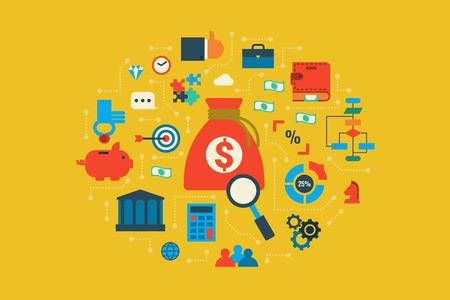 valor: Ilustración del concepto de diseño plano económico con elementos de iconos