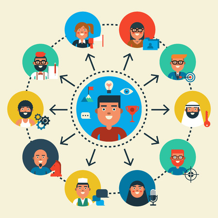 Illustration of teamwork character design diversity people, flat design