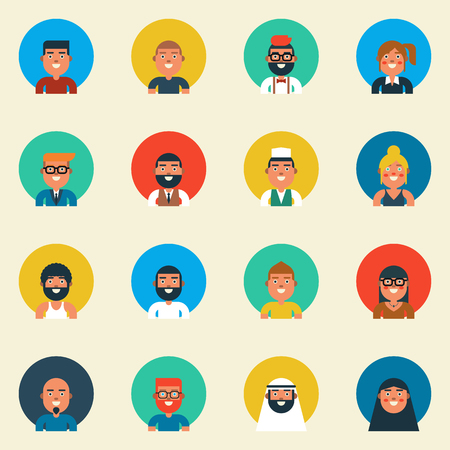 bald woman: Illustration of character design diversity people, flat design