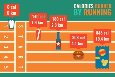 Illustration de calories brûlées en exécutant infographie Banque d'images - 48392352