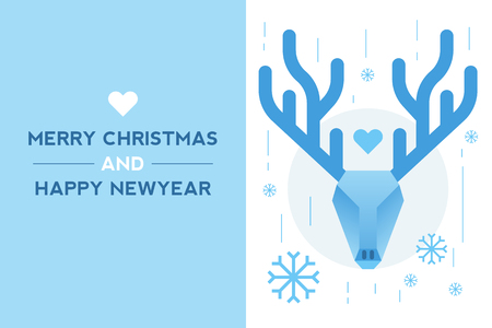 dear: Illustration of new year card with dear head blue theme