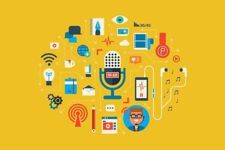 Illustration of Podcast flat design concept with icons elements