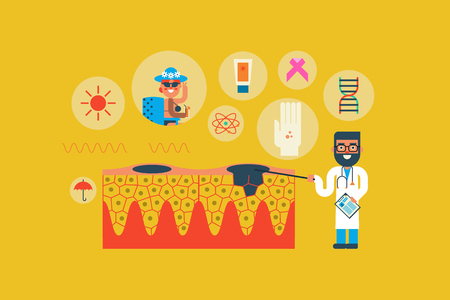 dermatologist: Illustration of skin cancer flat design concept with icons elements Illustration