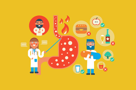 stomach pain: Illustration of Gastroesophageal reflux disease  flat design concept with icons elements