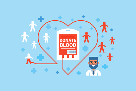 donate: Illustration of blood donation flat design concept with icons elements