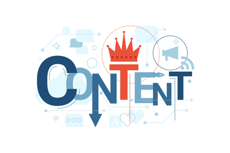 content: Illustration of content word typography in blue theme with red accent