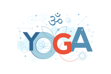 relaxation: Illustration of yoga word typography in blue theme with red accent Illustration
