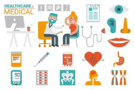 Illustration des soins de santé et le concept infographique médical avec des icônes et des éléments Banque d'images - 49904579
