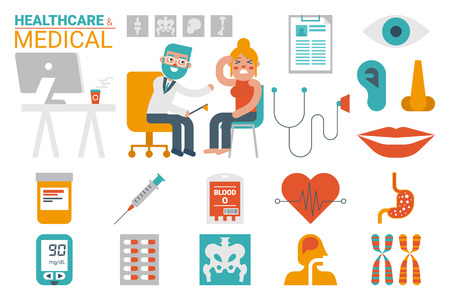 flat nose: Illustration of healthcare and medical infographic concept with icons and elements