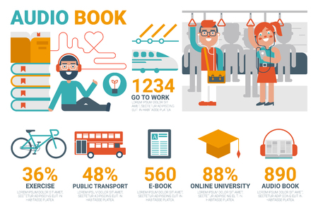 audiobook: Illustration of audio book infographic concept with icons and elements