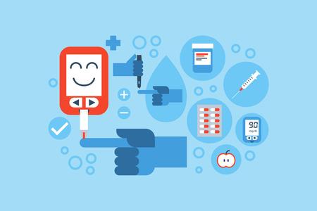 Illustratie van diabetes vlakke design concept met blauwe ring en iconen elementen Stock Illustratie