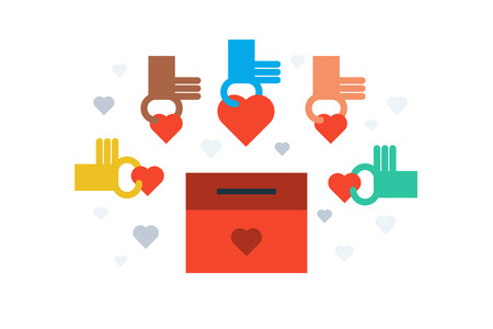 philanthropy: Illustration of charity donation box flat design concept with icons elements