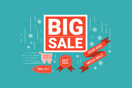 end of year: Illustration of End of year big sale label flat design concept with icons elements Illustration