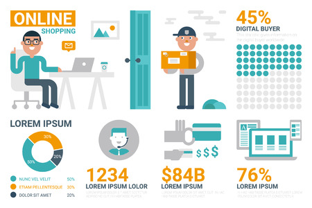 selling: Illustration of online shopping or selling infographic concept with icons and elements Illustration