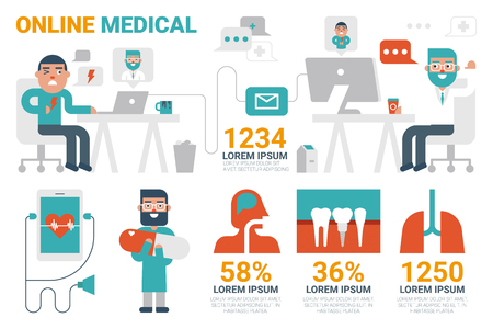 lung transplant: Illustration of online medical infographic concept with icons and elements