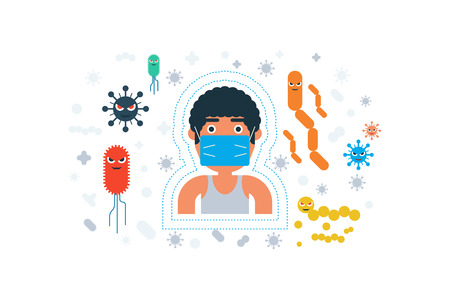 personal hygiene: Illustration of personal hygiene flat design concept with icons elements