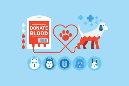 아이콘 요소와 개 헌혈 평면 설계 개념의 그림