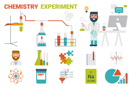 evaporation: Illustration of chemistry evaporation experiment infographic concept with icons and elements