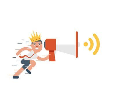 Ilustración de negocios corriente que sostiene el megáfono con la corona en la cabeza, el concepto de marketing de contenidos