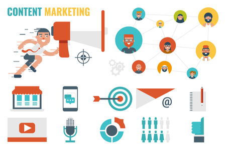 fast forward: Illustration of content marketing infographic concept with icons and elements