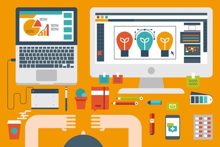 trabajo oficina: Ilustración del concepto de diseño plano del escritorio de oficina, trabajo persona en el diseño gráfico y preparar la presentación de información Vectores